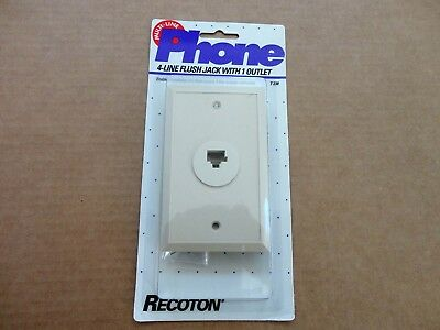 8-Pin Conductor Telephone Modular Flush Mount Wall Jack, Ivory, Recoton Package