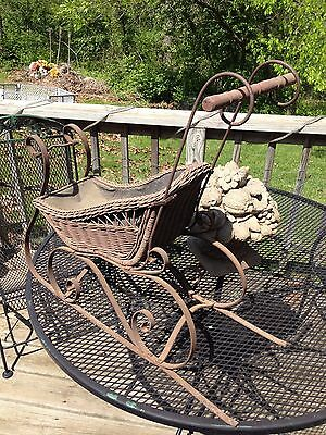 Antique Victorian Baby Sleigh or Push Sled All Original