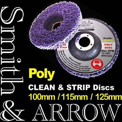 """4 x 125mm 5"""" POLY STRIP DISC WHEEL PAINT RUST REMOVAL CLEAN ANGLE GRINDER COARSE"""