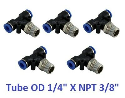 """Branch Tee Air Connector Tube OD 1/4"""" X NPT 3/8"""" Quick Release Fitting 5 Pieces"""