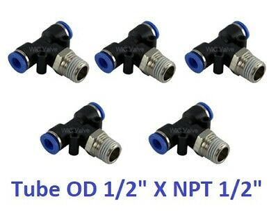 """Branch Tee Swivel Hose Connector Tube OD 1/2"""" X NPT 1/2"""" Push In Fitting 5 Piece"""