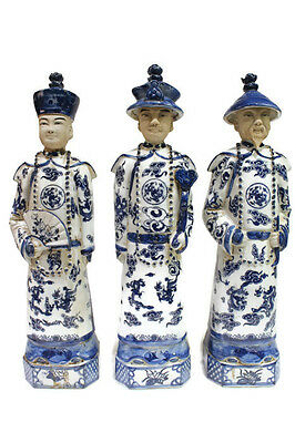 Vintage Style Blue and White Porcelain Chinese Qing 3 Generations Emperor 15""