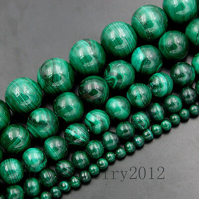 "Natural Green Malachite Gemstone Round Loose Beads 15"" 4mm 6mm 8mm 10mm 12mm"