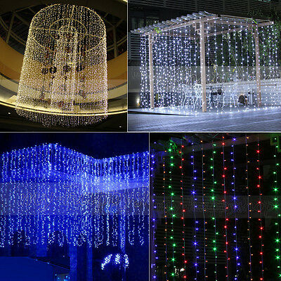 Connectable 9M/6M/3M*3M LED Indoor Outdoor Curtain Fairy Light String Xmas Party