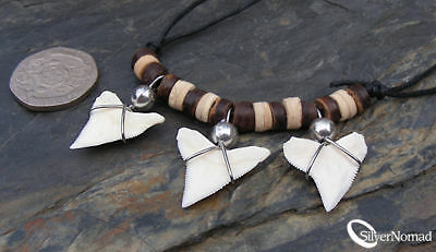 Genuine White Tip Shark Tooth Pendant Adjustable Necklace Good Shape Sale Gift!
