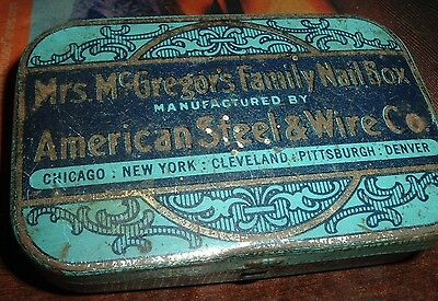 vtg american steel wire co mc gregors nail box tin can advertising metal tin can