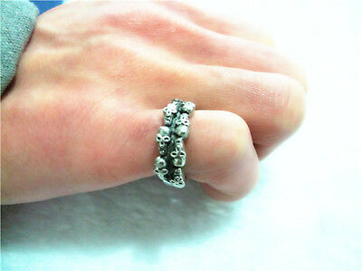 Multi Ring of Skulls Gothic.Ancient Silver Look. Viking Comes in sizes M N O