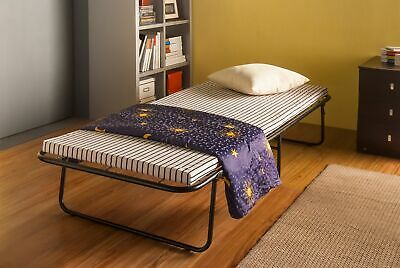 FoxHunter Single Metal Folding Guest Visitor Compact Bed With Mattress Fold Out