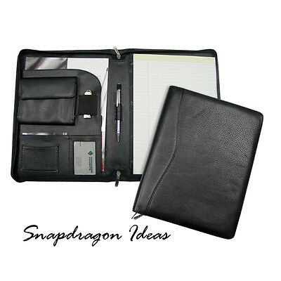 "SnapdragonIdeas Zipped Around Napa Cowhide ID Pocket  8"" x 11"" Pad Folio Black"