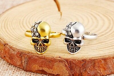 Rhinestone Crystal Encrusted Skull Ring.Adjustable Ancient Gold or Silver Look