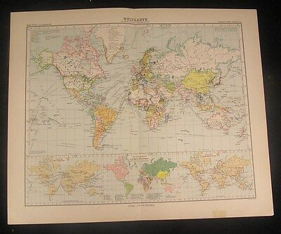 World showing colonies 1907 old vintage large detailed color map