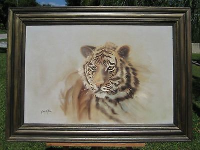 Vintage Huge Listed Sonia Gil TORRES Tiger Leopard canvas print Framed