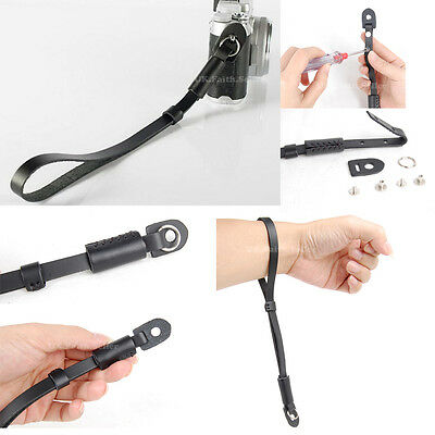 Black Genuine Leather Camera Hand Wrist strap For Fuji Pentax Samsung Sony GE
