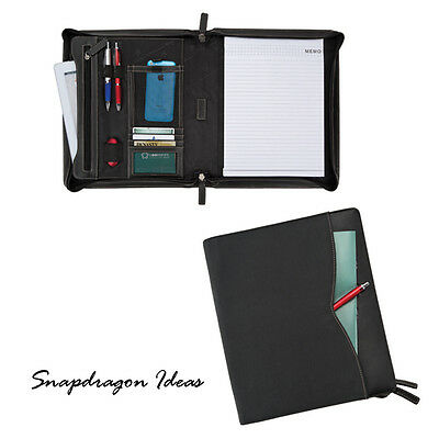 SnapdragonIdeas Zipped Around Brushed Twill Full Grain leather Pad Folio Black