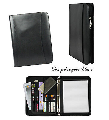 "SnapdragonIdeas Split Cowhide Leather 8"" x 11"" Memo Pad 1"" 3 Rings Binder Black"