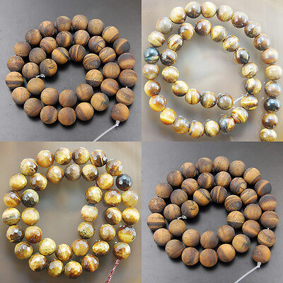 Natural Yellow Tiger Eye Smooth Matte Faceted Frosted Gemstone Round Beads 15""