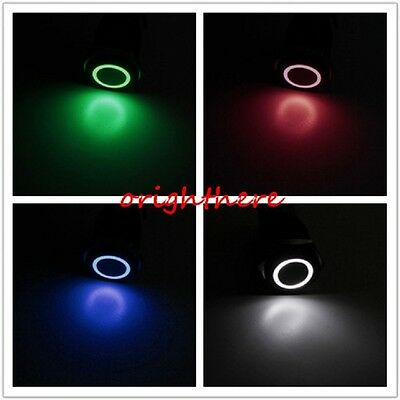 New 12V Metal Angel Eye LED Car illuminated Momentary 16mm Push Button Switch OE