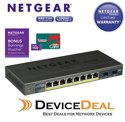 NETGEAR GS110TP ProSAFE 8-Port Gigabit PoE Smart Switch, 2 Gigabit Fibre SFP