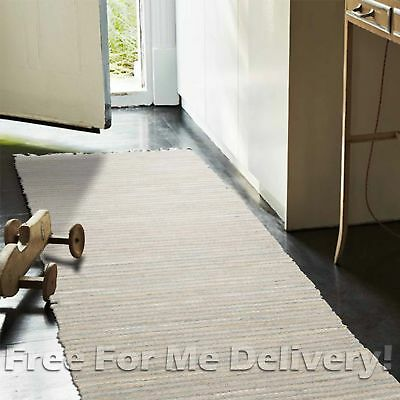 RAMONA NATURAL JUTE LEATHER SILVER FLOOR RUG RUNNER 80x300cm **FREE DELIVERY**