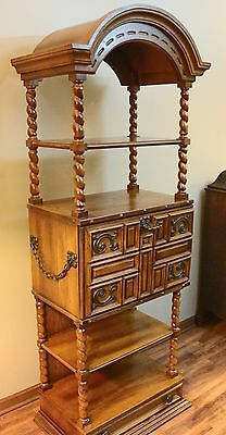 6ft Vintage Gothic Display Cabinet Spiral Posts & Chains Chgo & Milw Delivery