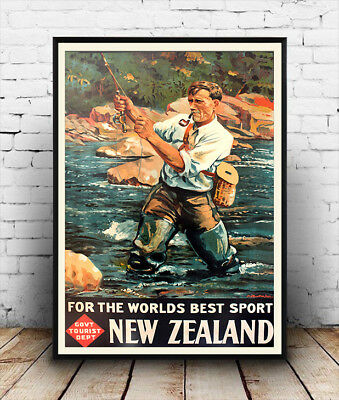 New Zealand, Vintage Travel advertising Reproduction poster, Wall art.