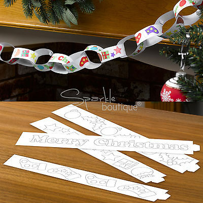 COLOUR-IN PAPER CHAINS/Banner/Decoration/Garland - CHRISTMAS CRAFT RANGE IN SHOP