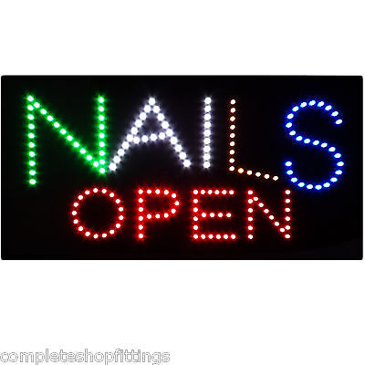 NAILS OPEN SHOP FLASHING LED SIGN FOOD WINDOW SIGN BOARD(Video in description)