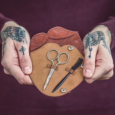 50 Fifty Beard Grooming Leather Kit Pouch with Comb Scissors