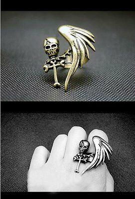 Skull,Angel Wing & Cross Ring.Adjustable Ancient Bronze/Silver Look .Size L & Up