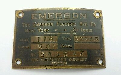 Vintage Antique Emerson Electric Fan ID Tag Plate type 29645 NICE CONDITION