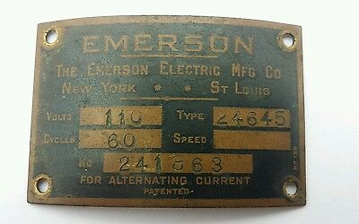 Vintage Antique Emerson Electric Fan ID Tag Plate type 24645 NICE CONDITION