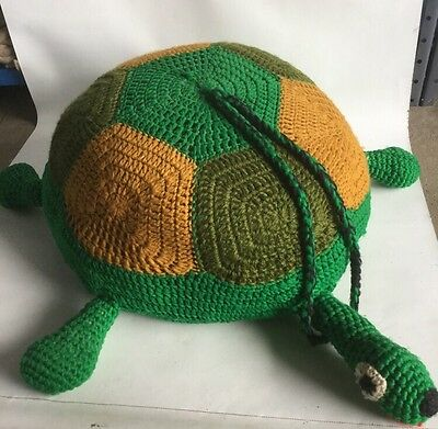 Huge Giant Gorgeous Handmade Antique Crochet Stuffed Animal Turtle Tortoise