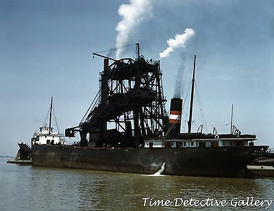Coal freighter loading at the dock in Sandusky Ohio WWII Homefront Photo Print