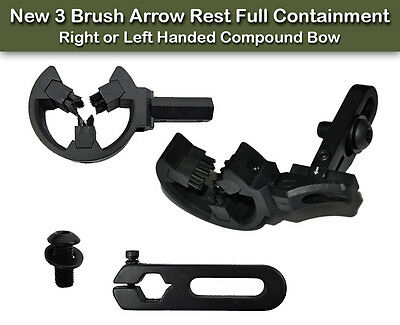 New 3 Brush Arrow Rest Full Containment, Right or Left Handed Compound Bow Black