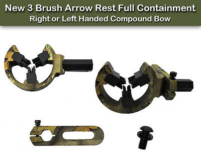 New 3 Brush Arrow Rest Full Containment, Right or Left Handed Compound Bow