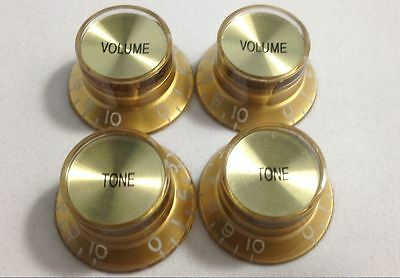 Volume Tone Control Bell Hat GOLD Knob GOLD Insert for Gibson Guitar Metric Pot