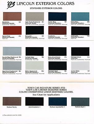 Lincoln Color Chip Chart Paint Brochure Continental Town Car Mark on 2004 Lincoln Aviator Parts Manual