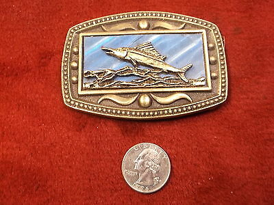 Rare Old Vtg Solid Brass Belt Buckle With Swordfish, Blue Background (New York)