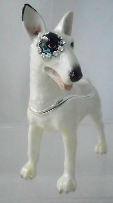 English Bull Terrier Dog Trinket Box Enamel with Swarovski Crystals Rucinni MIB