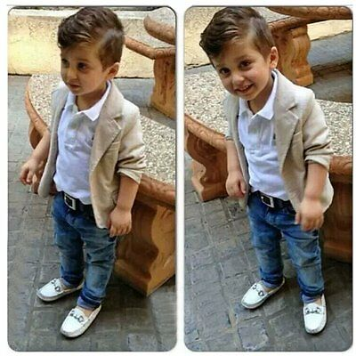 3pcs Toddler Kids Baby Boys Gentleman Coat+Shirt+Denim Pants Clothes Outfits Set