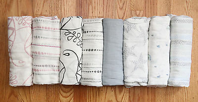 """Aden Anais Bamboo Swaddle Blanket~Tranquility, Sail Away, Moonlight ~ 47"""" x 47"""""""