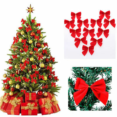 12x Bow Christmas Tree Decoration Hanging Ornament Bowknot Xmas Party Home Decor