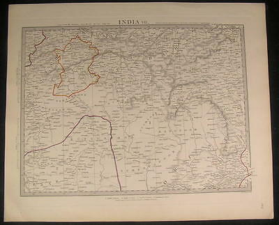 Northern India Ganges River 1832 antique engraved hand color map