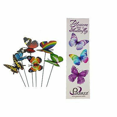 Ordinaire 6 Colourful Garden Plastic Butterflies On Sticks With Butterfly Bookmark