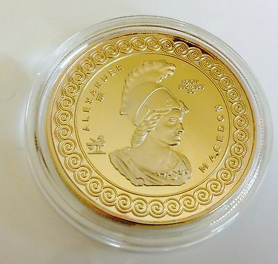 Alexander III of Macedon / ALEXANDER THE GREAT - GOLD Plated collectable. C of A
