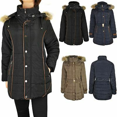 Ladies Womens Plus Size Fur Hooded Winter Coat Quilted Padded Puffa Parka Jacket