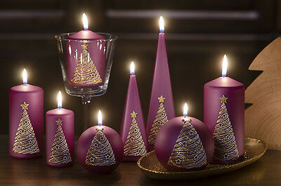 Christmas Tree Candle Set Of 3 Purple Decorated Large Pyramid Ball And Pillar