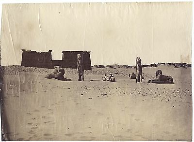 Egypte Temple de Seboua Nubie Photo Béchard Vintage albumine ca 1865
