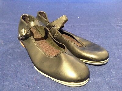 """big girls ladies size 6 Capezio black leather tap shoes 9 3/4"""" Mary Jane buckle"""