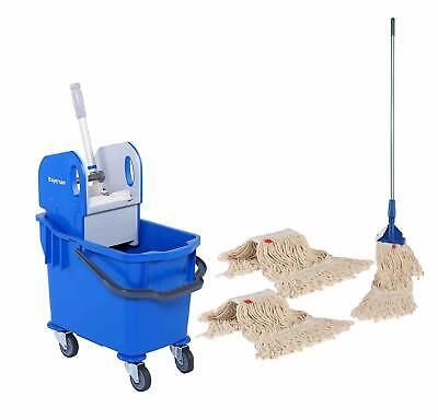 Professional Kentucky Mop Bucket Set - Complete Mop & 2 Extra Mop Heads